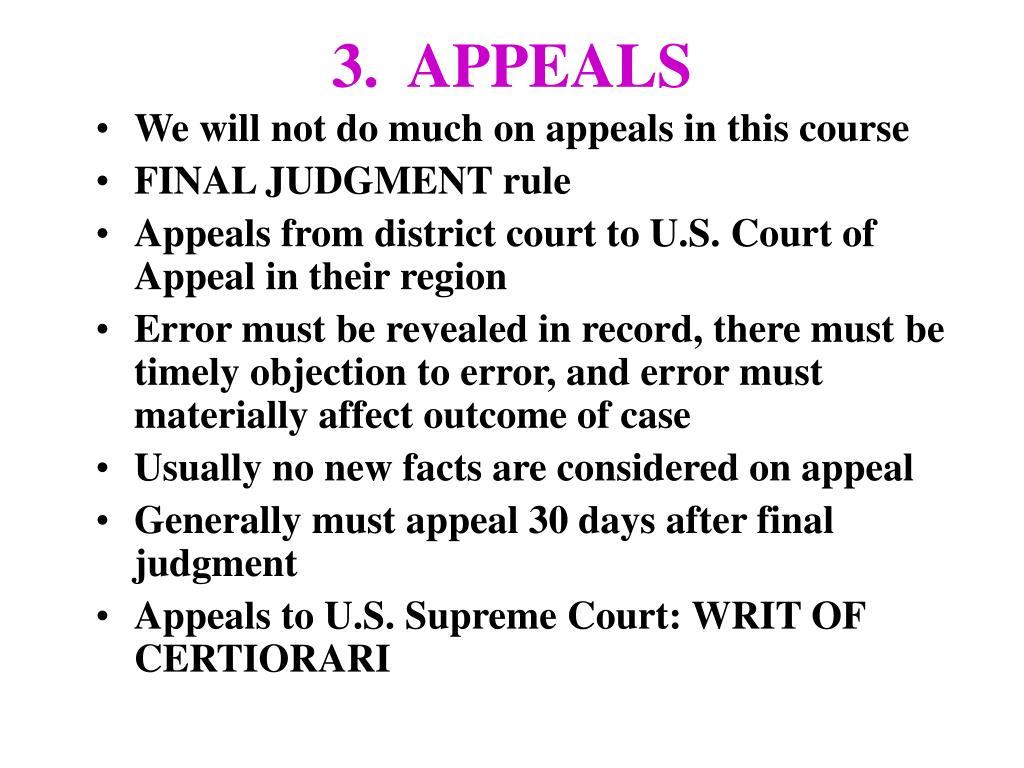 3.  APPEALS