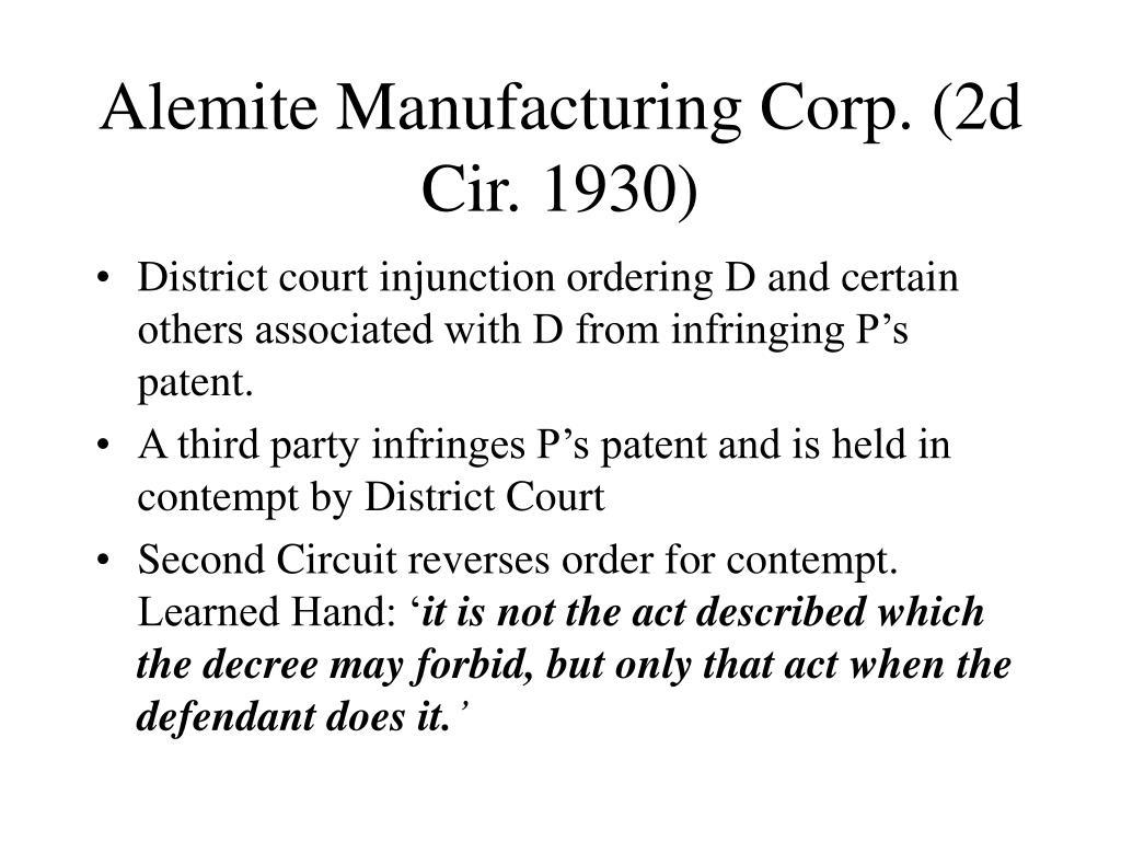 Alemite Manufacturing Corp. (2d Cir. 1930)