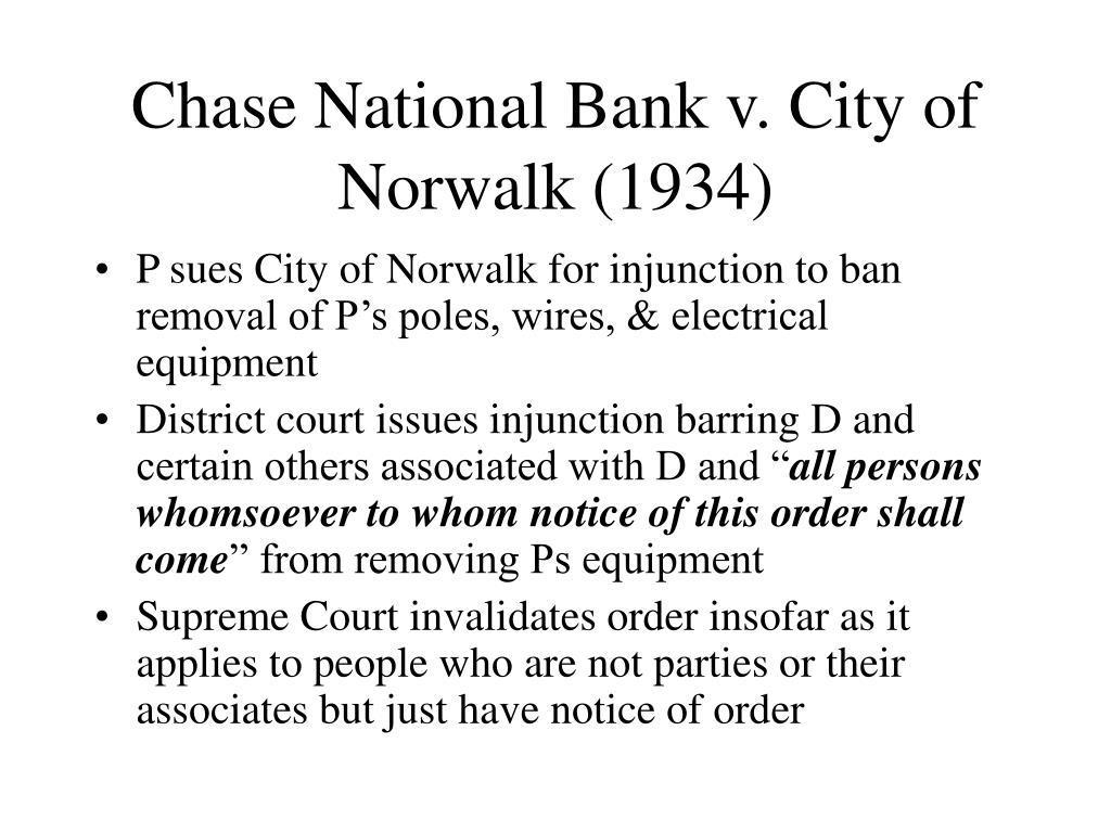 Chase National Bank v. City of Norwalk (1934)