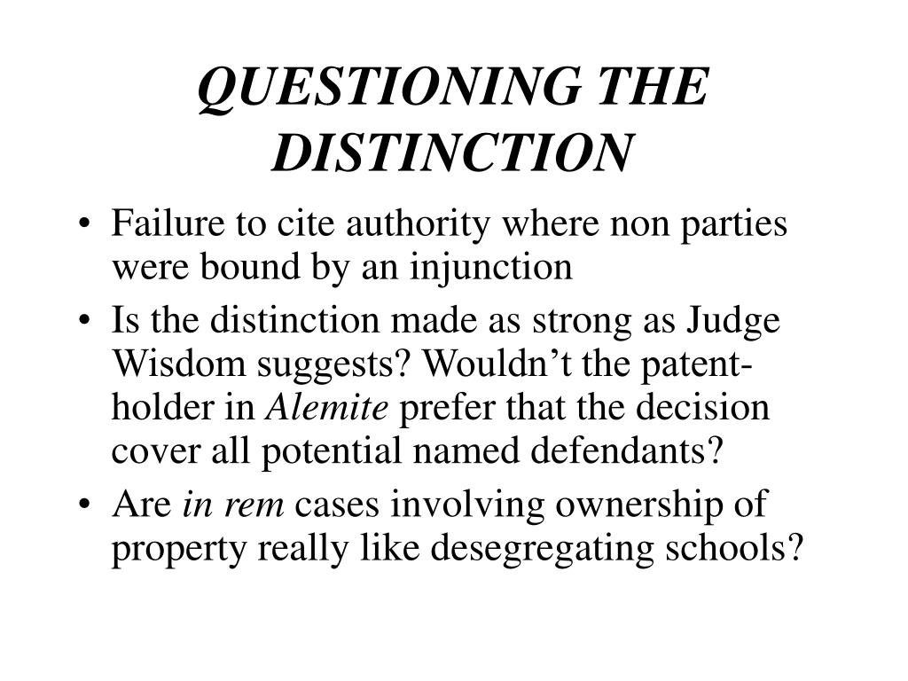 QUESTIONING THE DISTINCTION