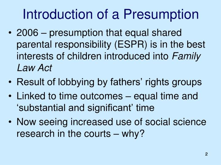 Introduction of a presumption