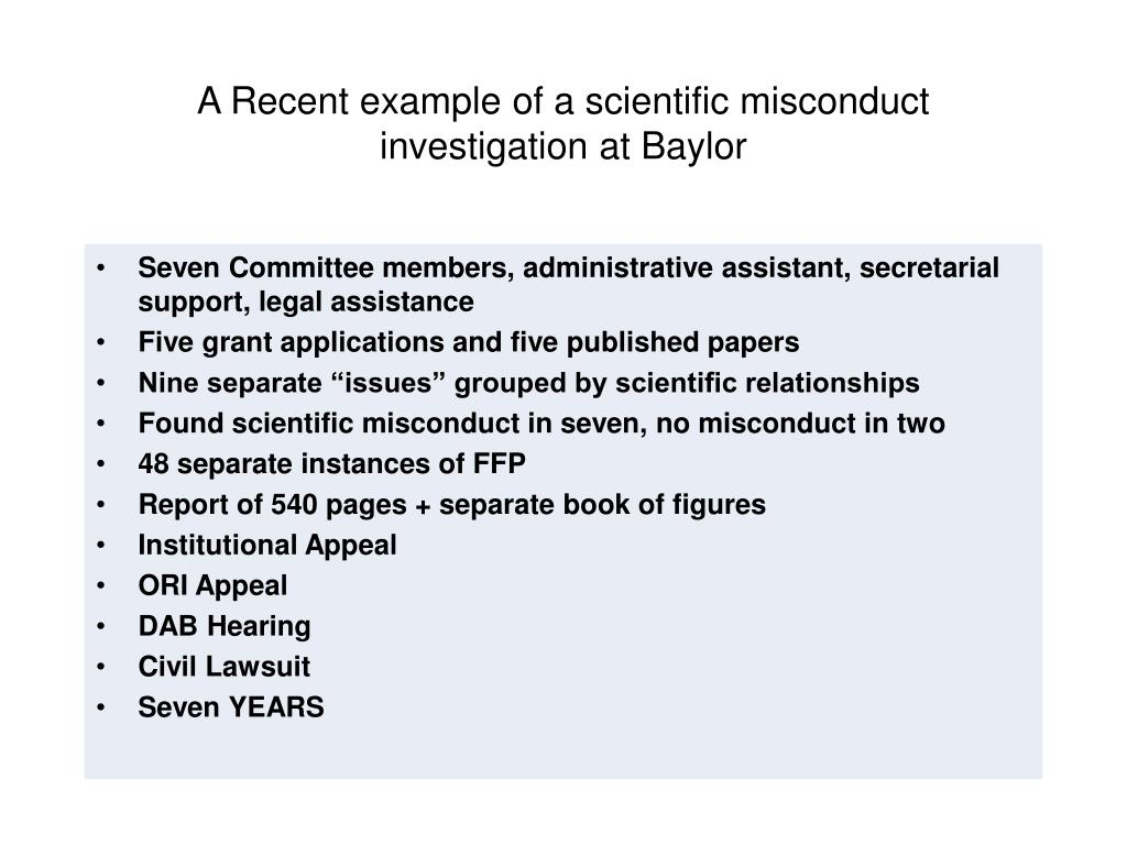 A Recent example of a scientific misconduct investigation at Baylor