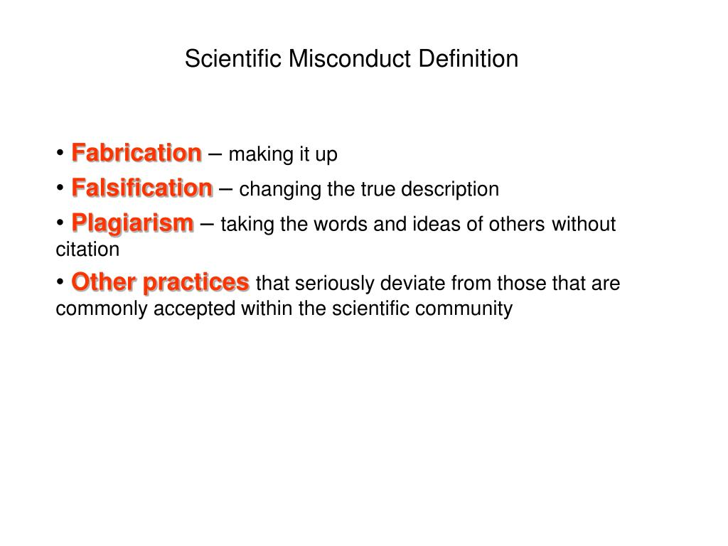Scientific Misconduct Definition