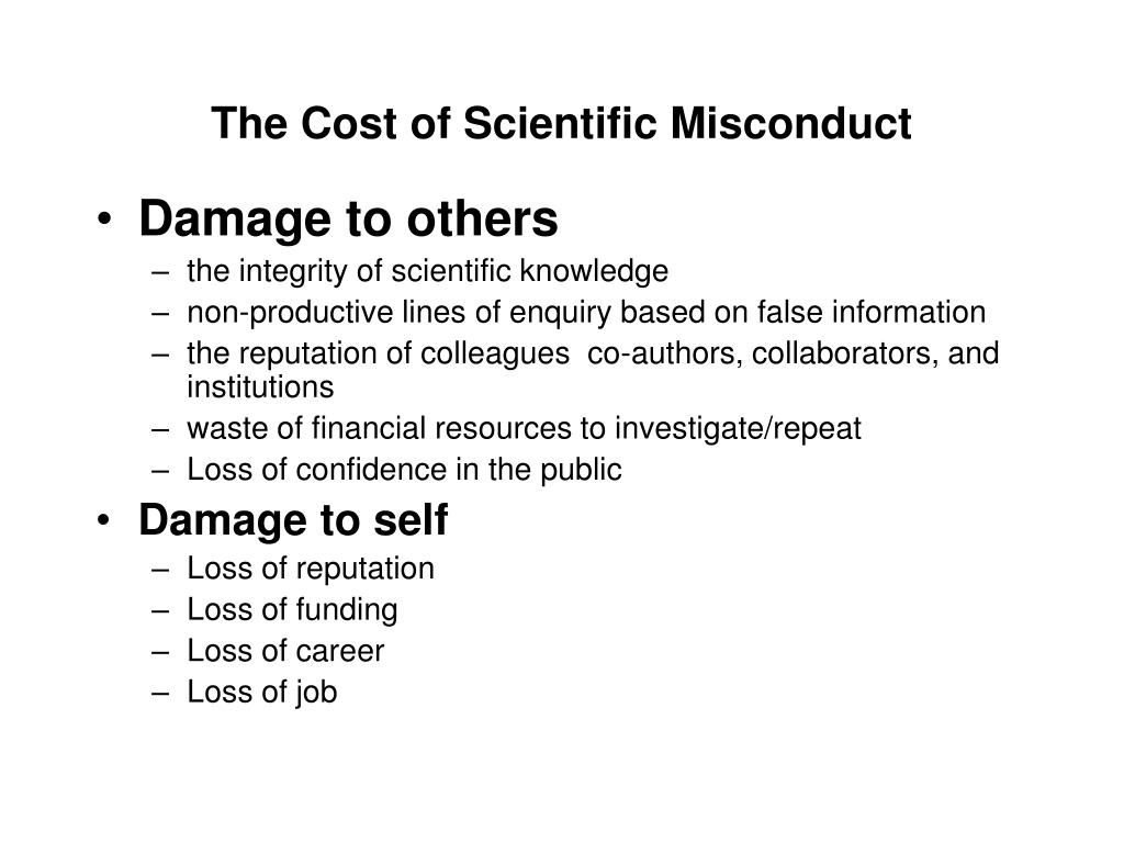 The Cost of Scientific Misconduct