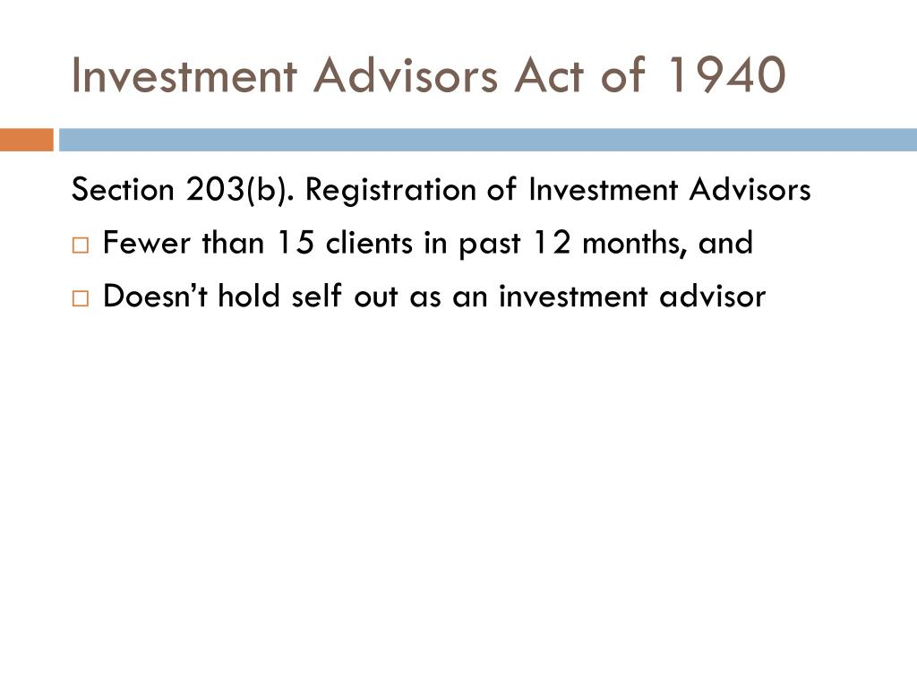 Investment Advisors Act of 1940