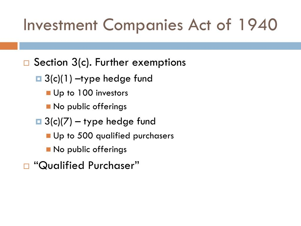 Investment Companies Act of 1940