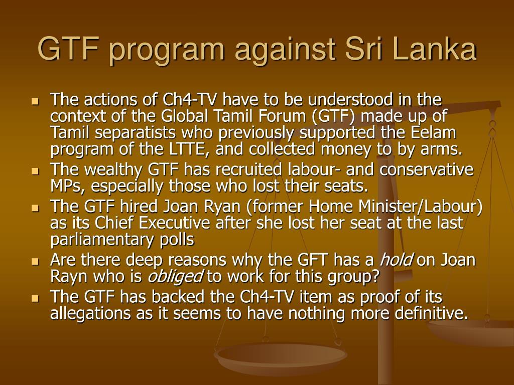 GTF program against Sri Lanka