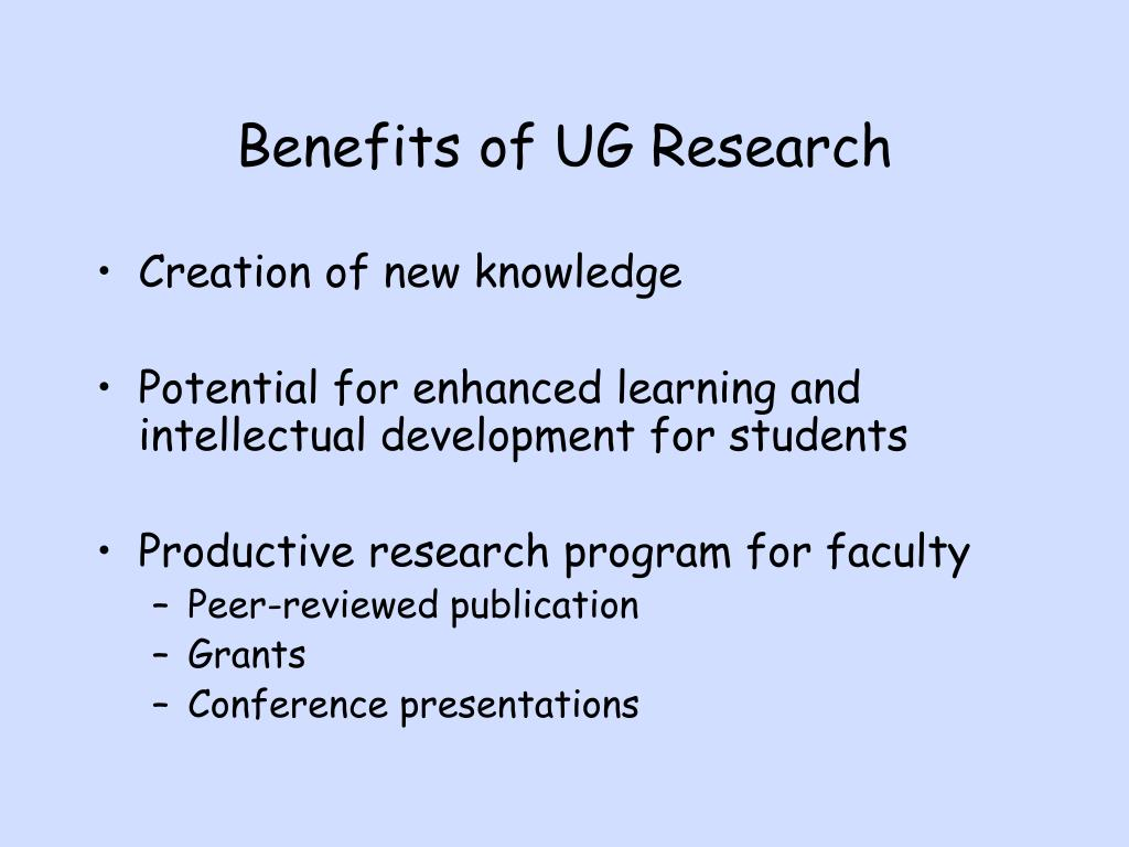 Benefits of UG Research