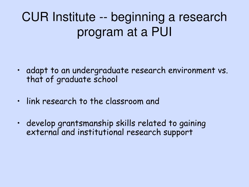 CUR Institute -- beginning a research program at a PUI