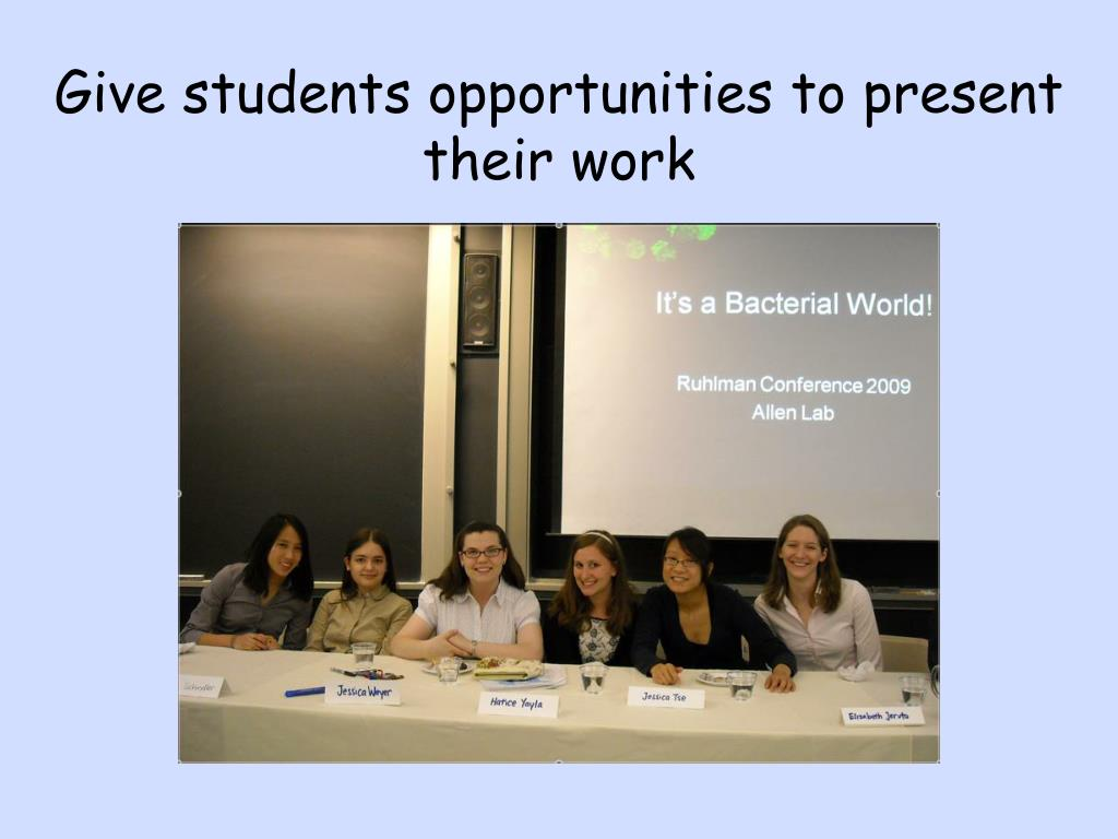 Give students opportunities to present their work