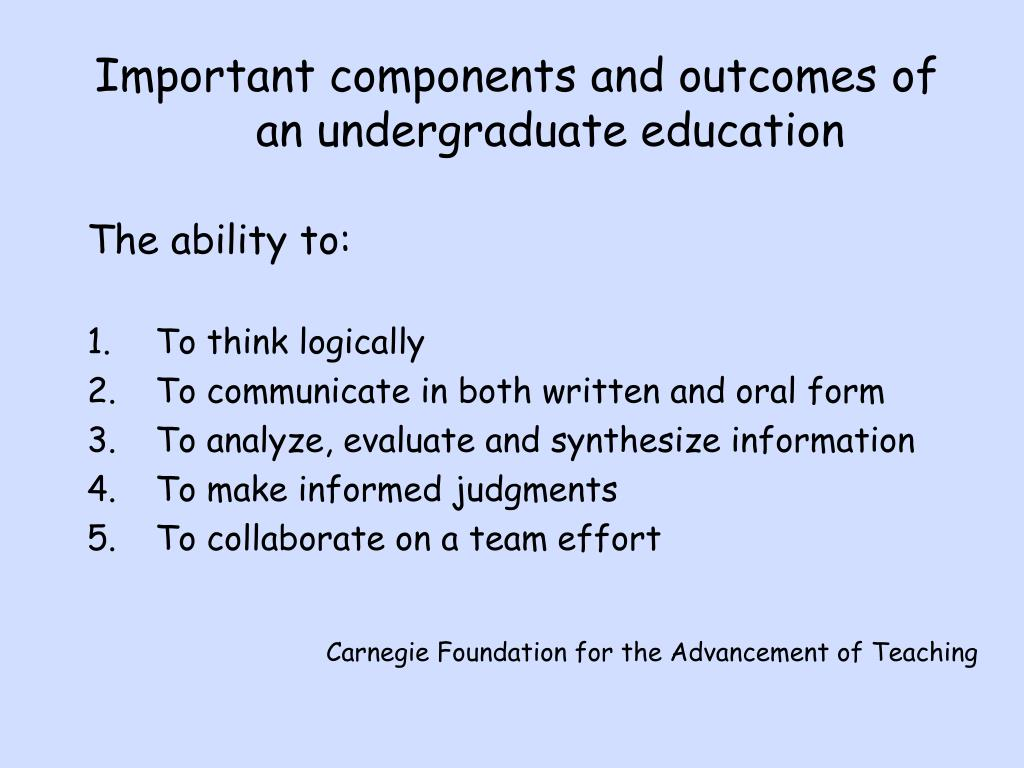 Important components and outcomes of an undergraduate education