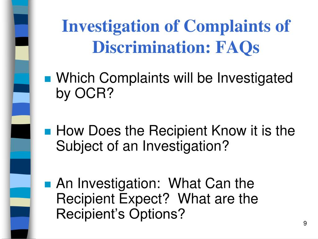 Investigation of Complaints of Discrimination: FAQs