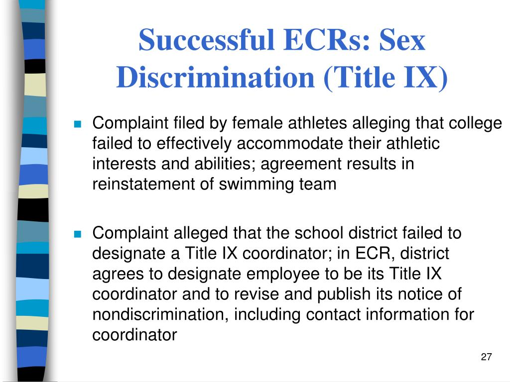 Successful ECRs: Sex Discrimination (Title IX)