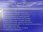 where is sport and physical education heading