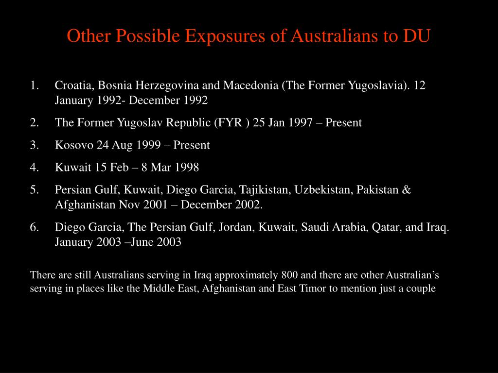 Other Possible Exposures of Australians to DU