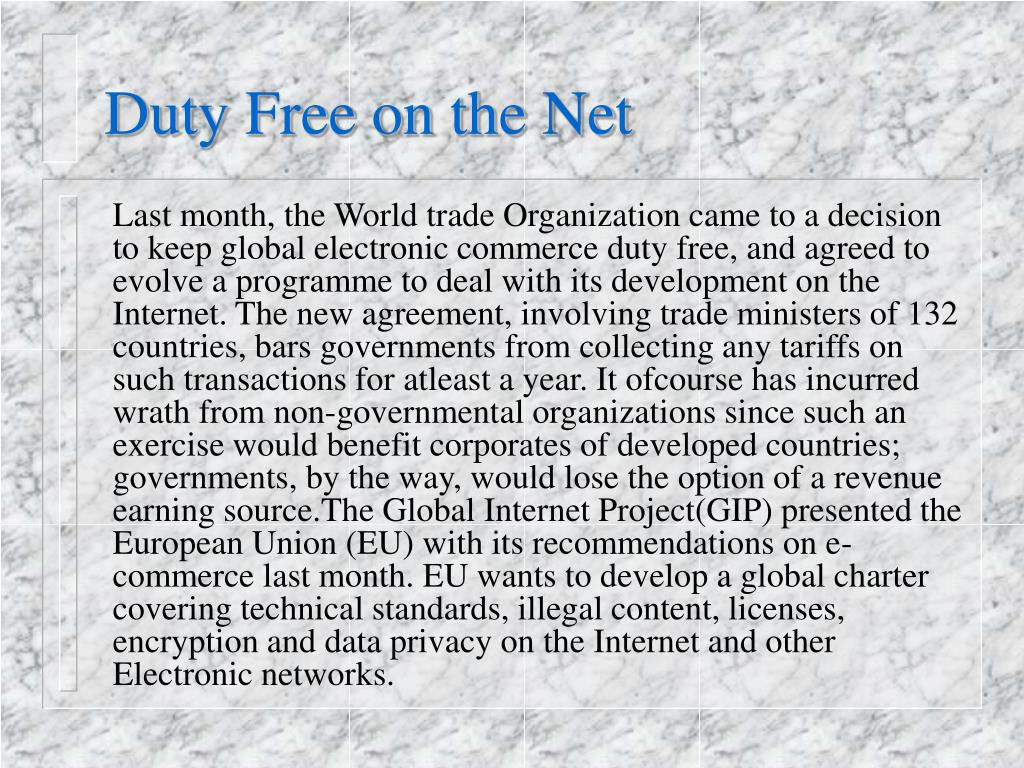 Duty Free on the Net