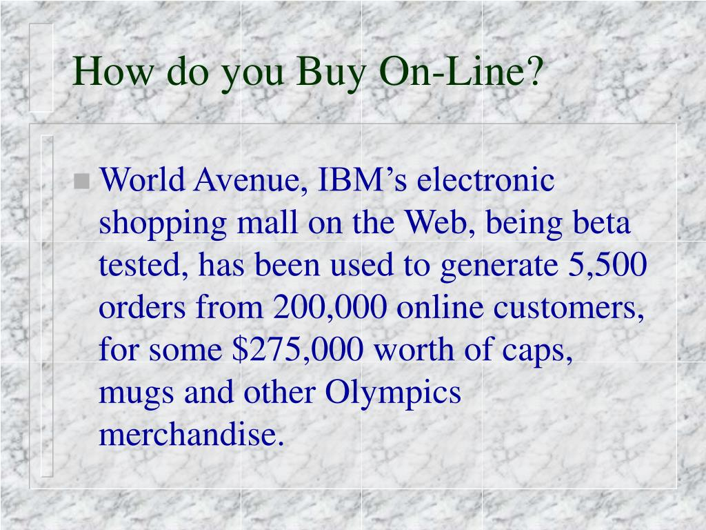 How do you Buy On-Line?