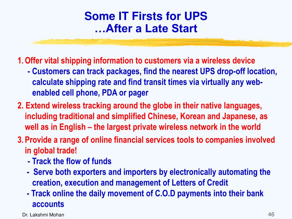Some IT Firsts for UPS