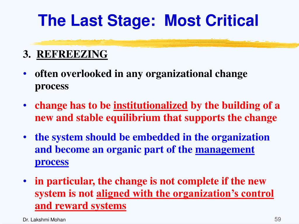 The Last Stage:  Most Critical