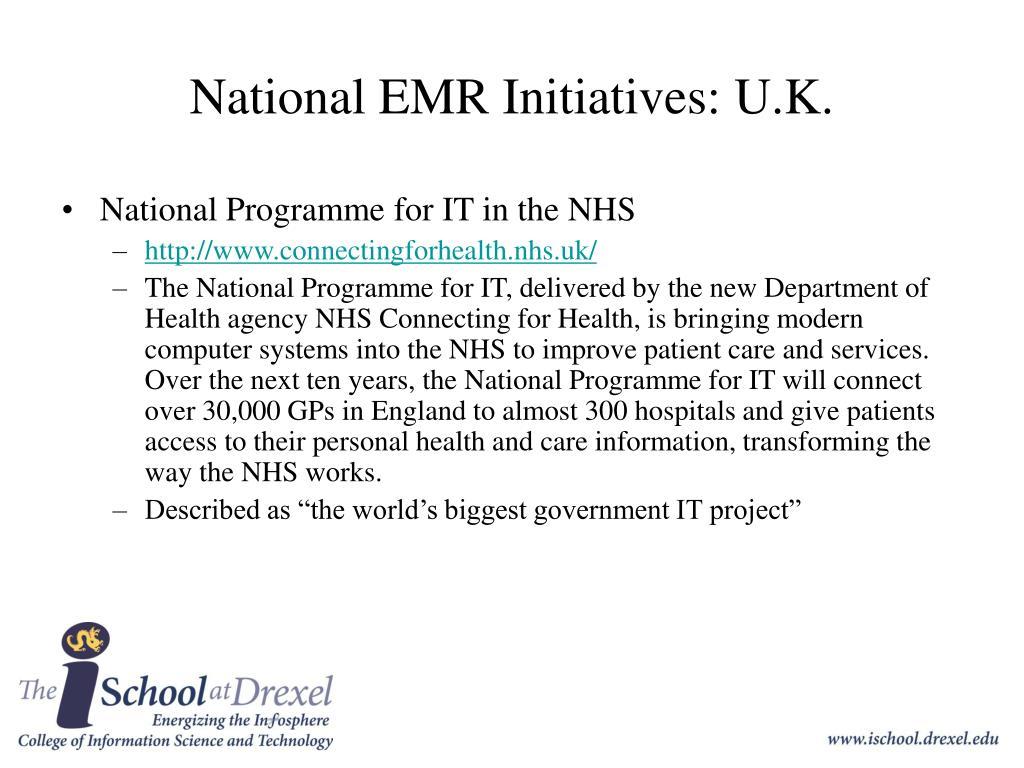 National EMR Initiatives: U.K.