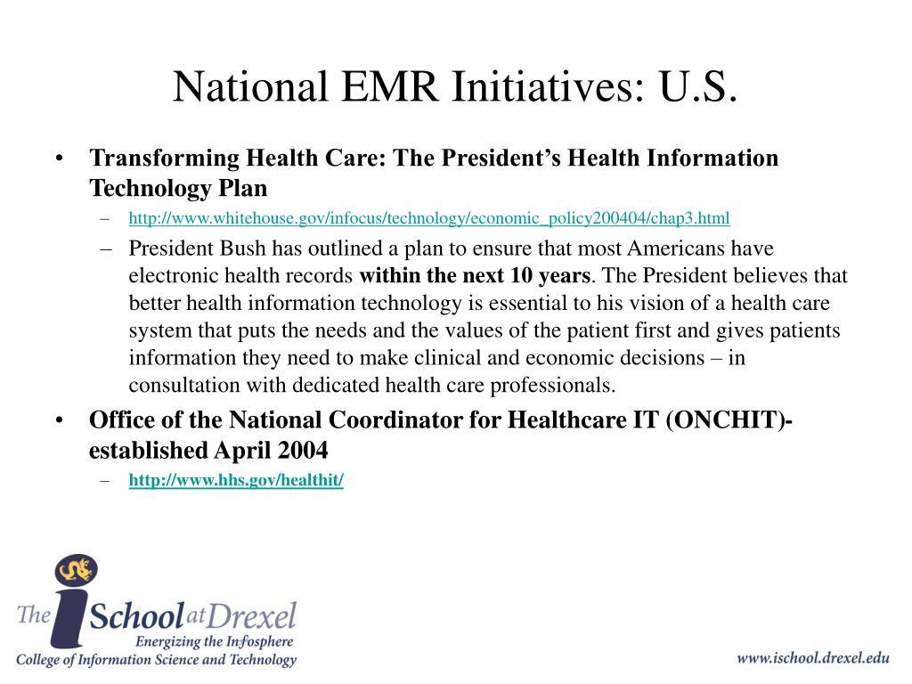 National EMR Initiatives: U.S.