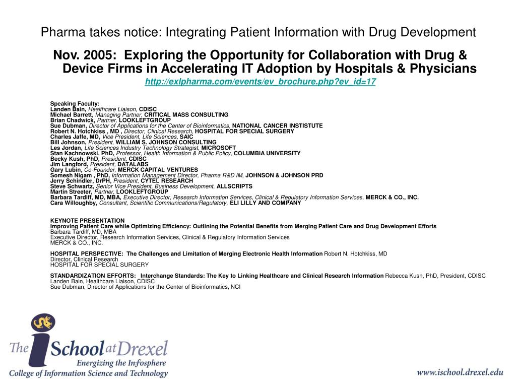 Pharma takes notice: Integrating Patient Information with Drug Development