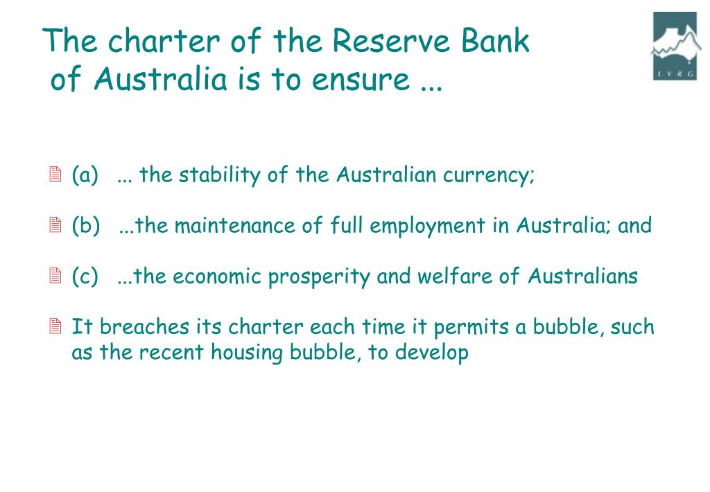The charter of the Reserve Bank