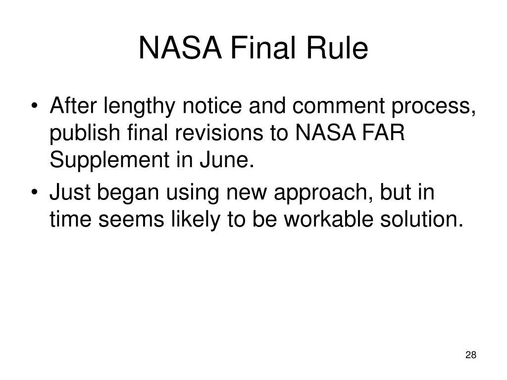 NASA Final Rule