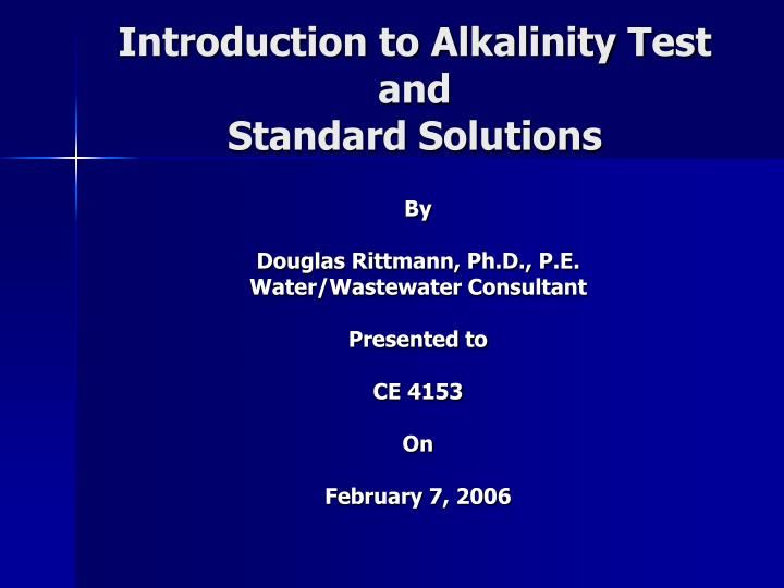 Introduction to Alkalinity Test