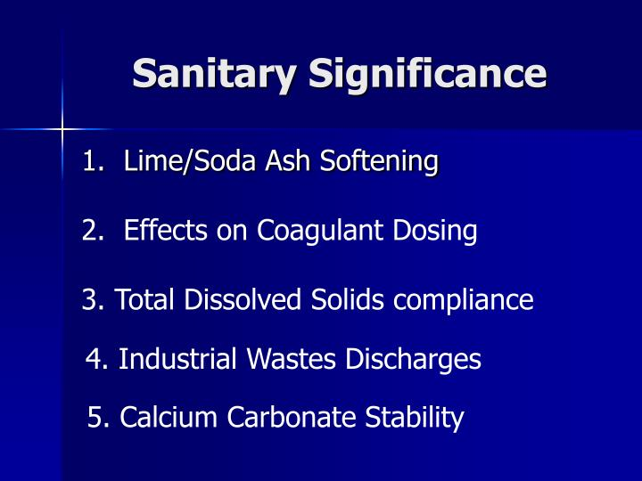 Sanitary Significance