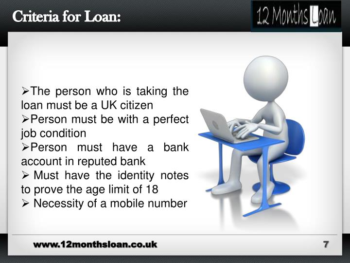 Criteria for Loan: