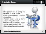 criteria for loan