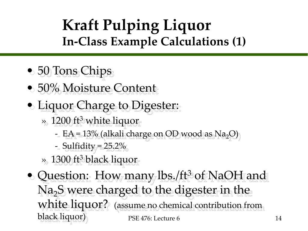 Kraft Pulping Liquor