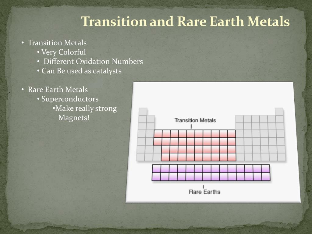 Transition and Rare Earth Metals