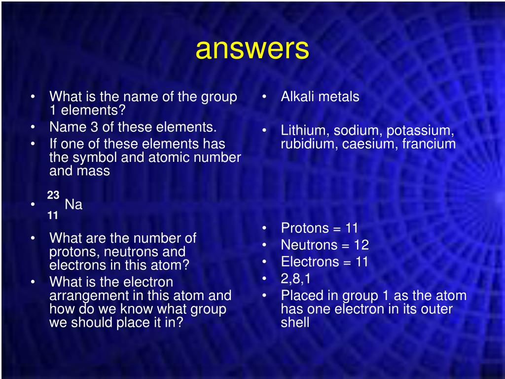 What is the name of the group 1 elements?