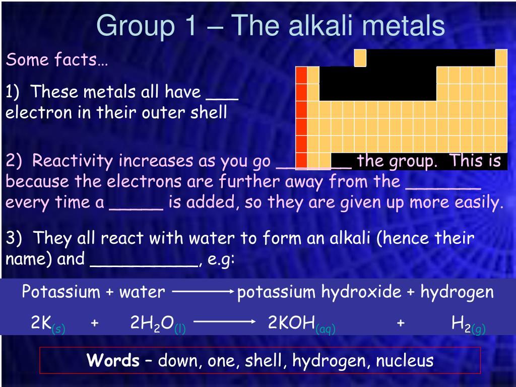 Potassium + water              potassium hydroxide + hydrogen