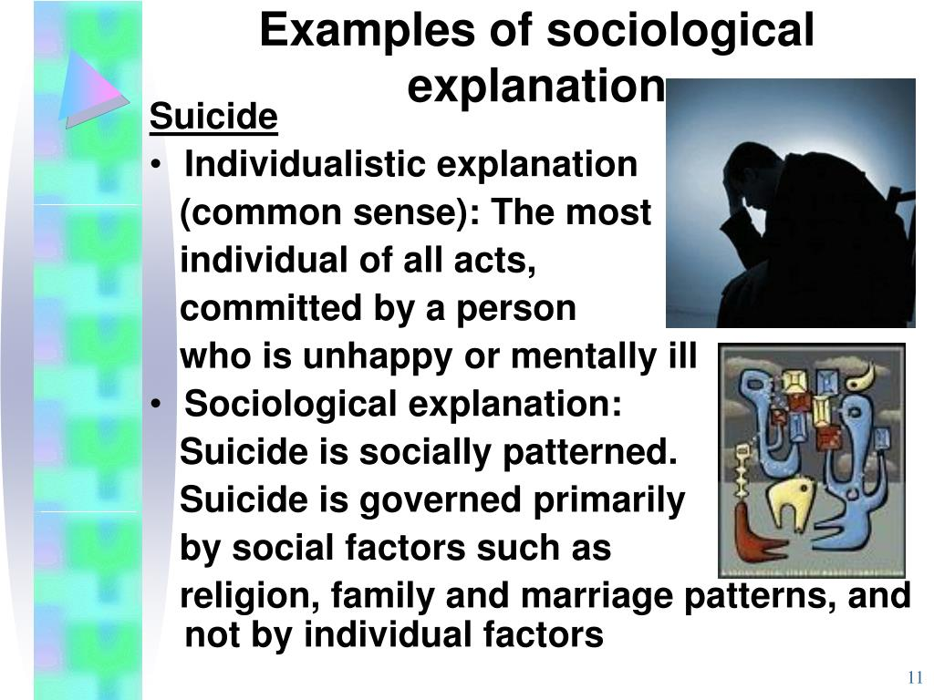 Examples of sociological explanation