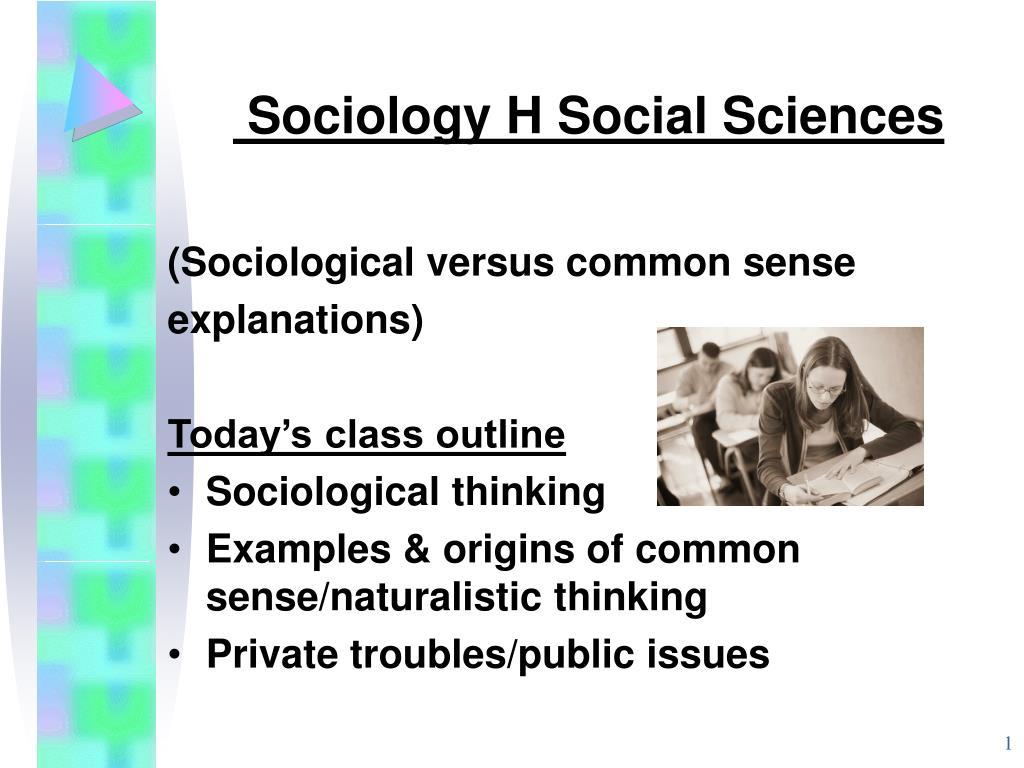 Sociology H Social Sciences
