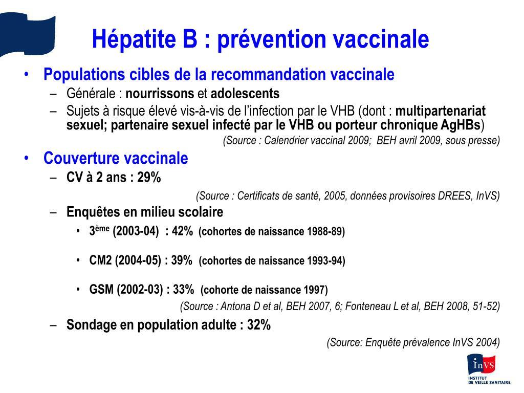 Hépatite B : prévention vaccinale