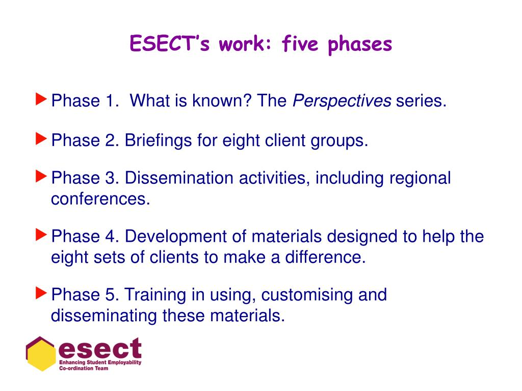 ESECT's work: five phases