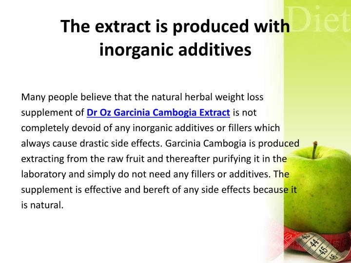 The extract is produced with inorganic additives