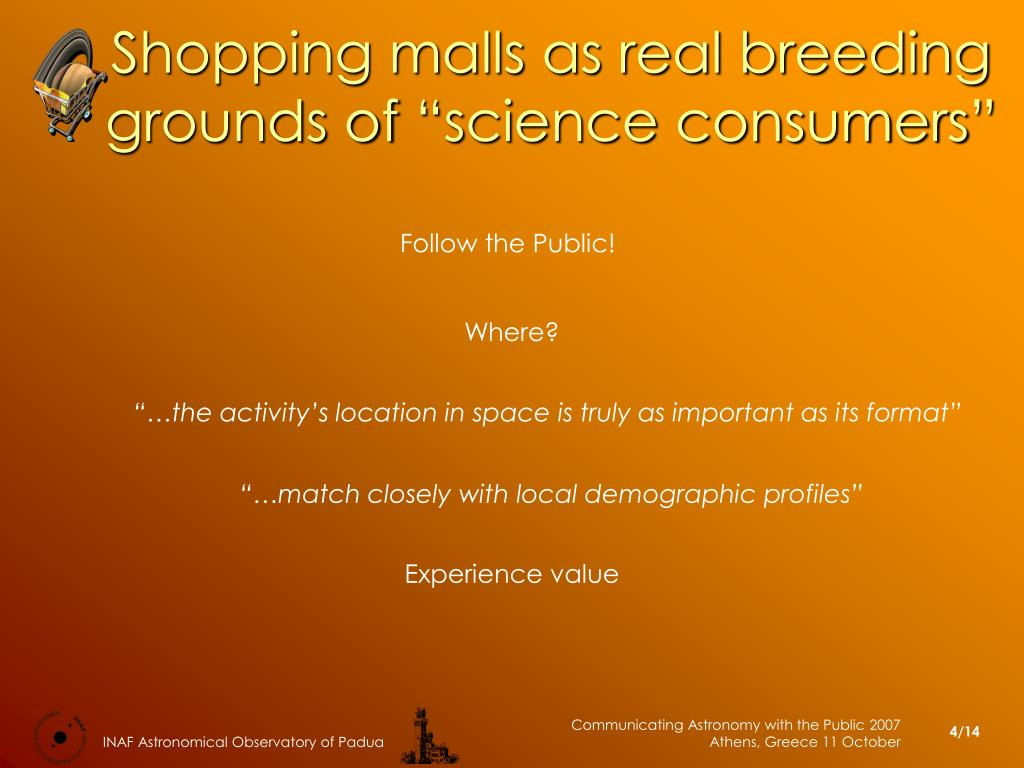 "Shopping malls as real breeding grounds of ""science consumers"""