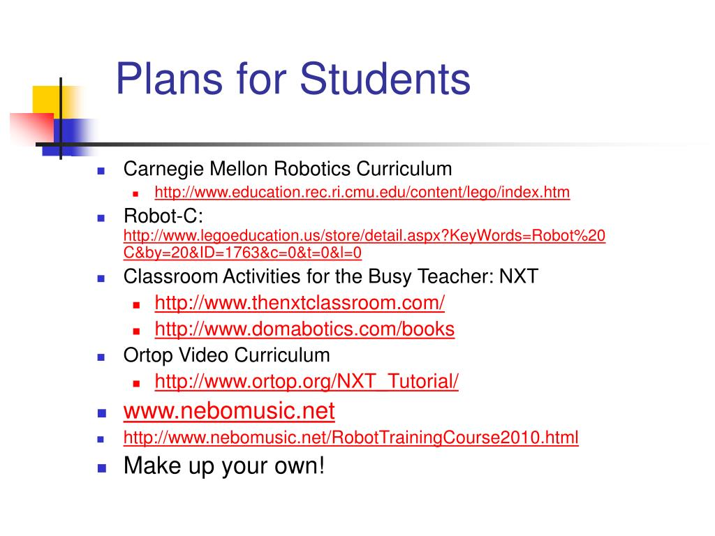 Plans for Students