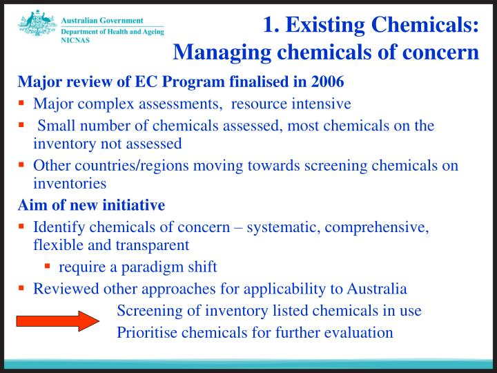 1 existing chemicals managing chemicals of concern