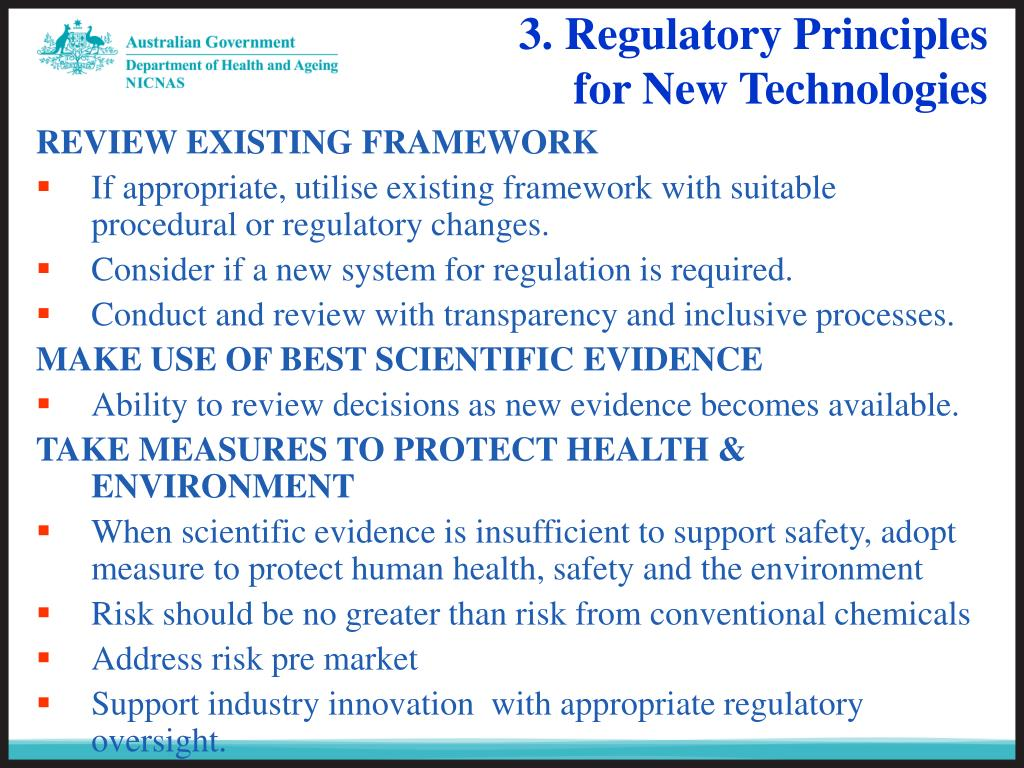 3. Regulatory Principles for New Technologies