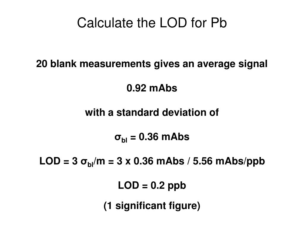 Calculate the LOD for Pb