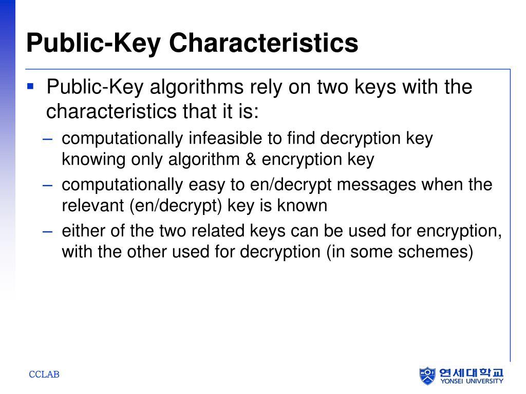 Public-Key Characteristics