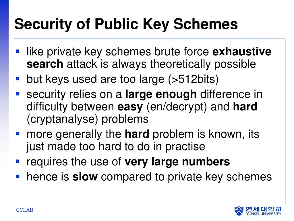 Security of Public Key Schemes