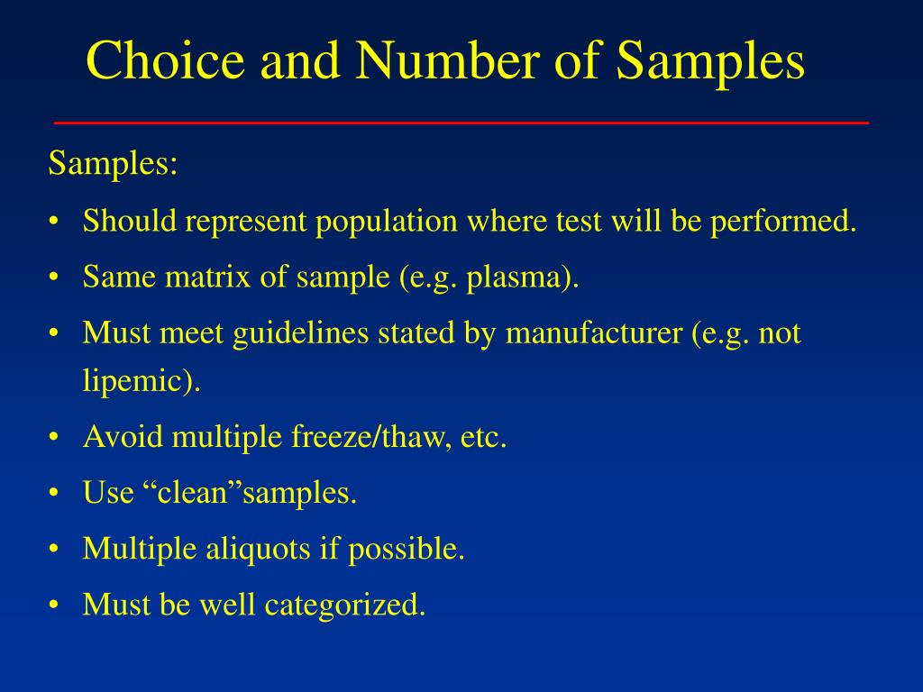 Choice and Number of Samples