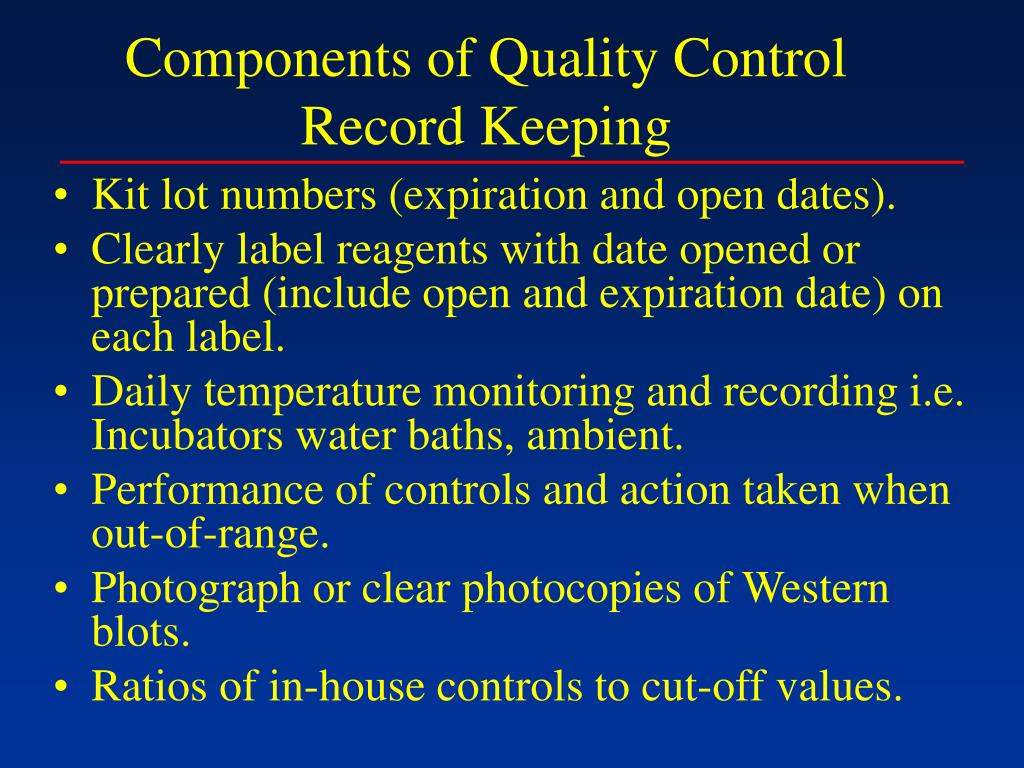 Components of Quality Control